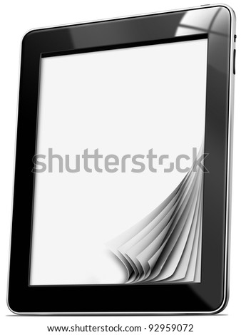 Tablet computer with pages Black tablet computer with blank pages on white background