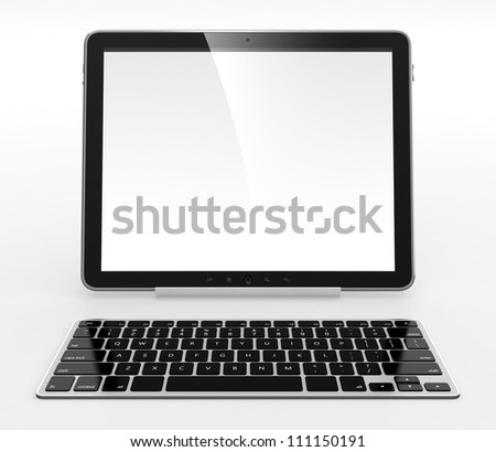 Tablet computer with white blank screen and keyboard isolated on white background