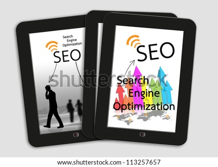 Tablet computer with written SEO, search engine optimization