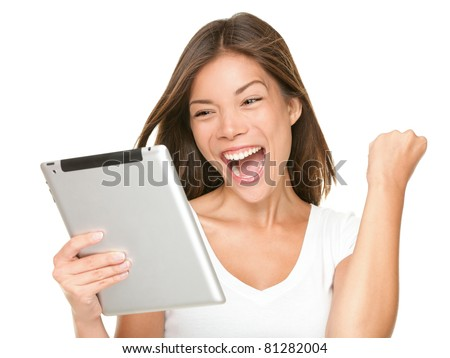 Tablet computer woman excited looking at touch pad pc. Cheerful happy fresh Asian Caucasian female model.