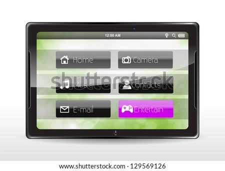 """Tablet concept with a pink """"Entertain"""" button"""