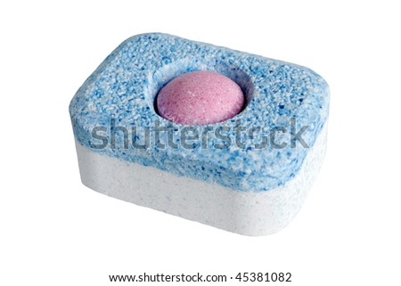Tablet for dish-washing machine isolated on the white background