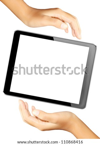 tablet in hands with isolated screen + Clipping Path