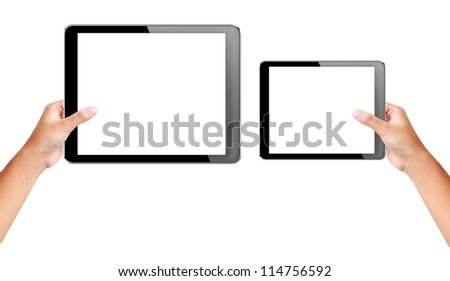 tablet (7 inches,10 inches) in hands with isolated screen + Clipping Path