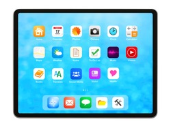 Tablet isolated on white background, home screen mockup with app icons.