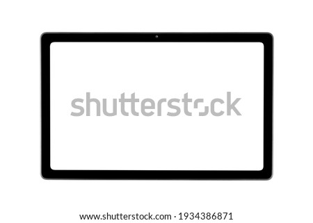 Tablet laptop computer PC with blank screen mock up isolated on white background. Tablet isolated screen with clipping path. PC computer white screen with copy space. Empty space for text.