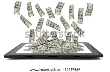 tablet - like computer isolated in a hand on the white backgrounds. money