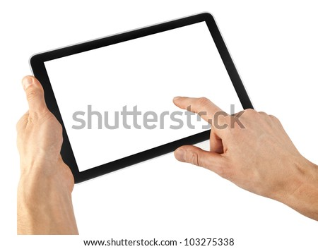 tablet like ipades computer isolated in a hand on the white backgrounds.