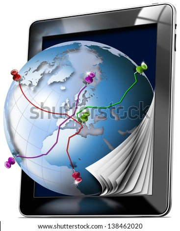 Tablet Map - Gps Navigation Concept / Black tablet with pages and world map - Gps Navigation Concept
