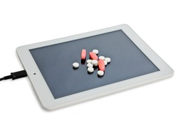 Tablet on a tablet computer. The concept of Internet addiction.