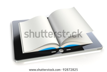 Tablet Pad Book. A tablet pad computer with a book.