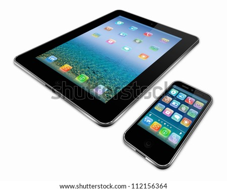 tablet pc and a mobile phone