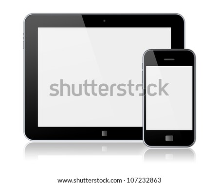 Tablet PC and mobile smartphone with blank screen. Isolated on a white. 3d image
