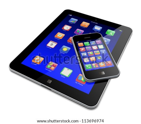 Tablet PC and mobile smartphone with blue touchscreen and colorful apps . Isolated on a white. 3d image