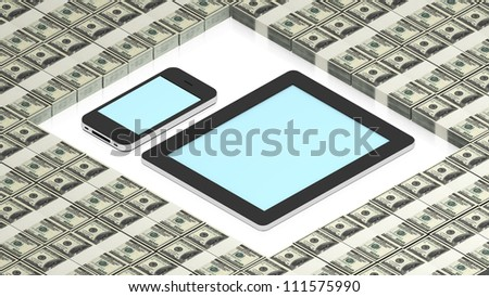 tablet pc and phone on dollars