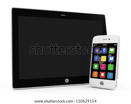 Tablet PC and White Smartphone isolated on white background