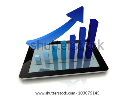 Tablet PC Business blue color chart and purpose 3D render
