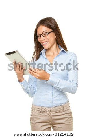 Tablet PC business woman happy looking at touch-pad screen. young mixed race Asian Caucasian business woman professional isolated on white background.