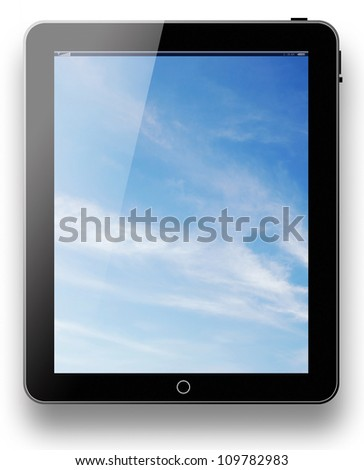 tablet pc computer modern technology touch for the future background black model with blue sky background on white background for design