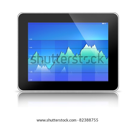 Tablet PC computer showing blue business graph (generic tablet pc and graph hand drawn by photographer)