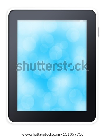 Tablet pc computer with blue background