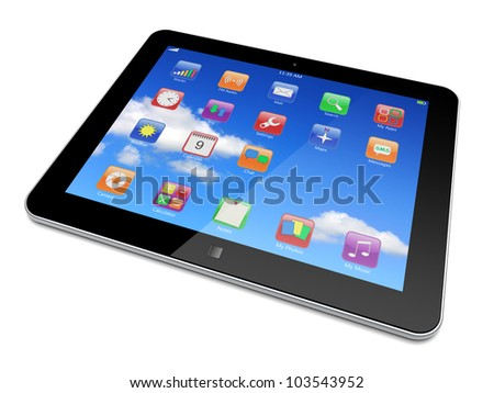 Tablet PC computer with blue sky background on the touchscreen and colorful apps . 3d image
