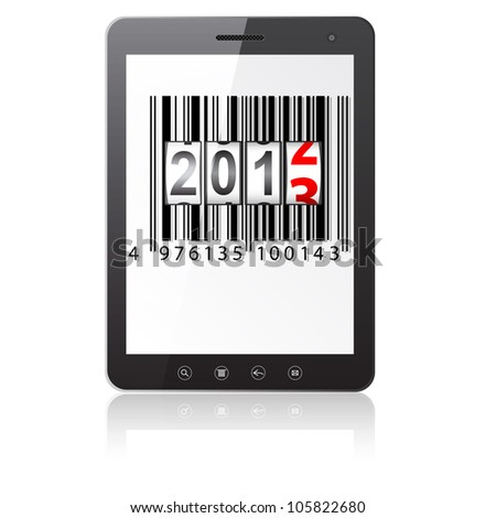 Tablet PC computer with 2013 New Year counter, barcode isolated on white background.   illustration.