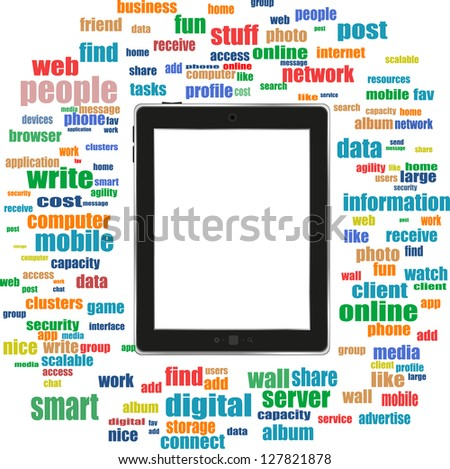 tablet pc in social media words, communication in the global computer networks, raster