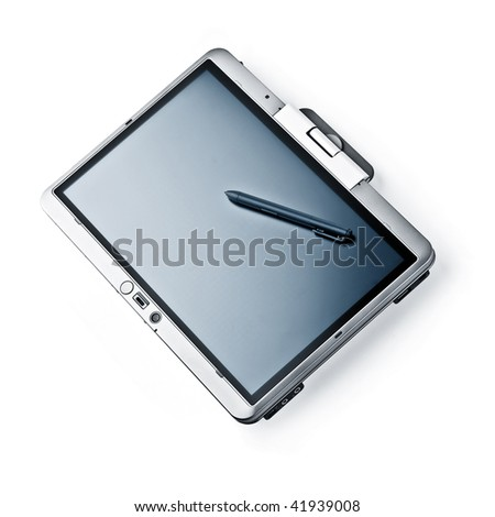 Tablet PC Laptop on White Background. HQ studio shot.