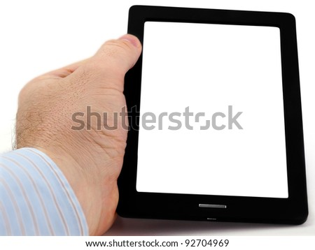Tablet-PC. Male hand holding tablet pc with blank screen on the white background