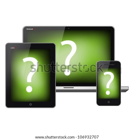 Tablet pc, mobile phone and notebook isolated on white background