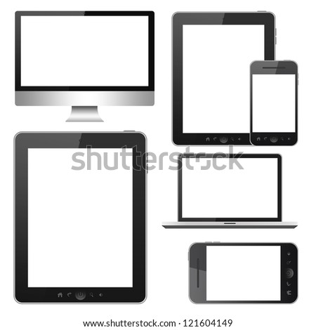 Tablet pc, mobile phone, notebook and computer