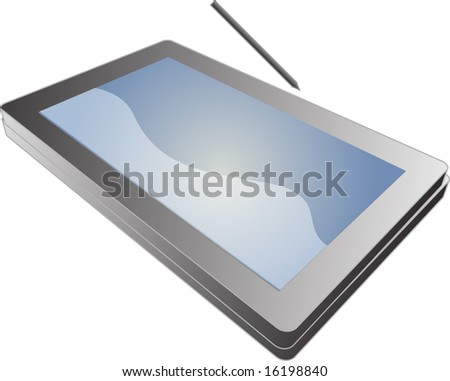 Tablet PC notebook open with screen, 3d isometric illustration