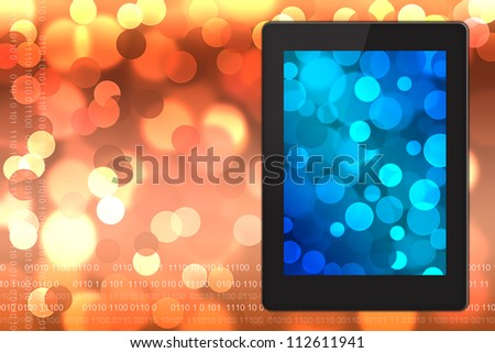 Tablet pc on  blurred bokeh background.