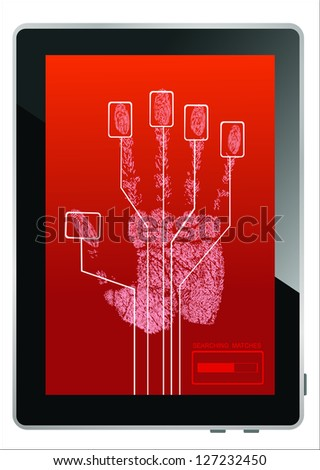 Tablet PC on screen hand print isolated on white