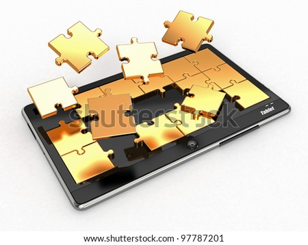 Tablet pc software. Screen from puzzle. 3d