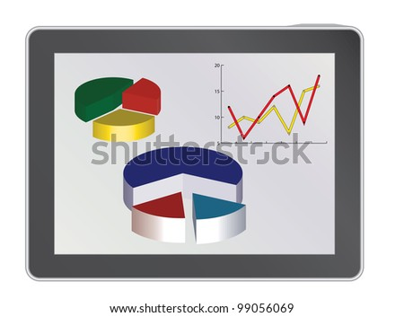 tablet pc with analytics diagrams illustration