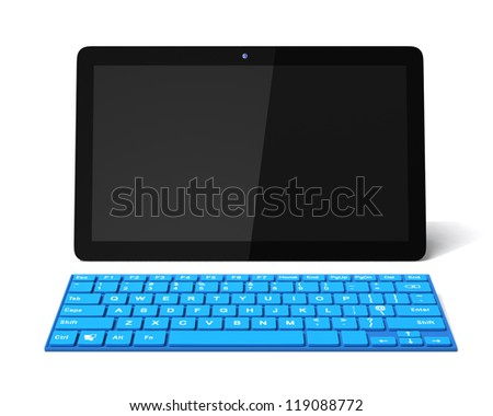 tablet PC with blue keyboard