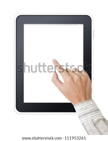 Tablet pc with businessman hands