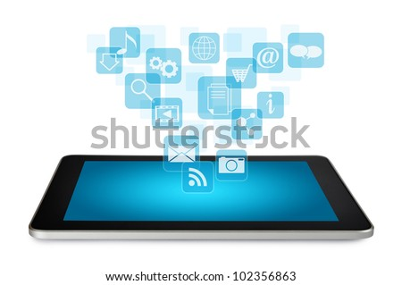 Tablet PC with cloud of application icons isolated on white background - stock photo