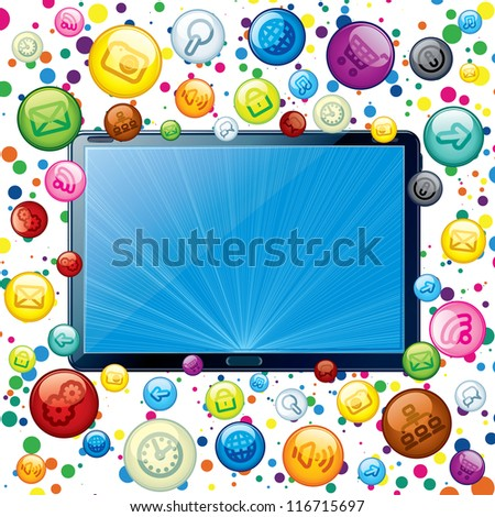 Tablet PC with Cloud of Apps Icons. Conceptual Background