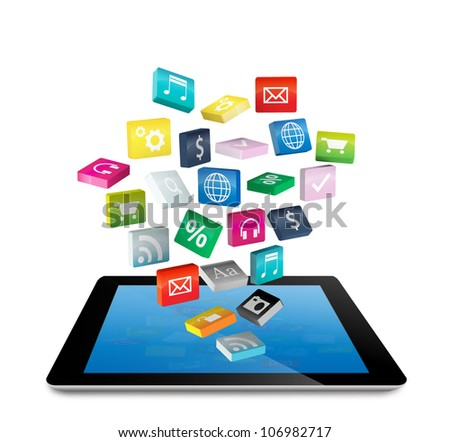 Tablet PC with cloud of colorful application icons, isolated on white background (Save Paths For design work)