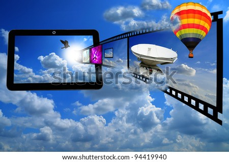 Tablet PC with Film strip and Balloon as concept of streaming 3d video on tablet