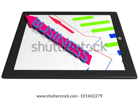 Tablet PC with graph diagram and Business arrow indicator finance concept