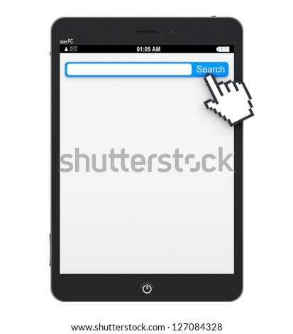 Tablet Pc with search engine with blank space in browser for your text and pixel hand on a white background