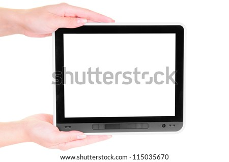 tablet PC with white screen in the hands  isolated on white background