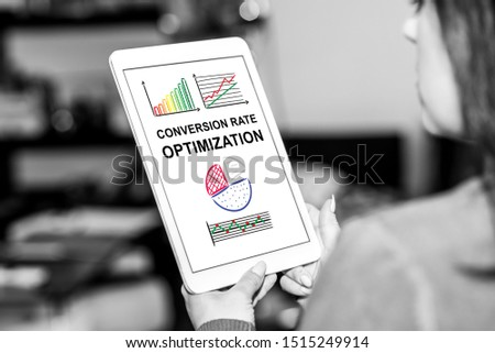 Tablet screen displaying a conversion rate optimization concept