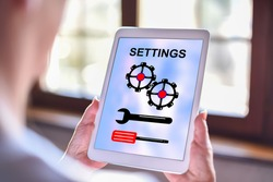 Tablet screen displaying a settings concept