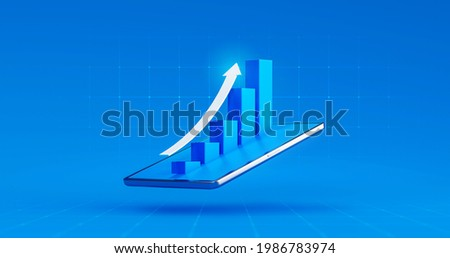 Tablet screen of market business chart arrow stock graph or investment financial data profit on digital display background with diagram exchange information. 3D rendering.