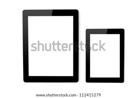 tablet touch computer gadget and mini tablet on an isolated background